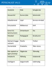 Egenskaper – Tabell med oppgaver